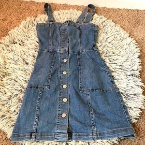 Button Through Denim  Cord Dress